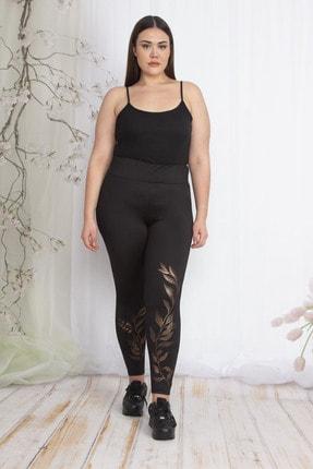 Şans Kadın Siyah Paçası Bakır Baskılı Sporcu Tayt Pantolon 65N22349