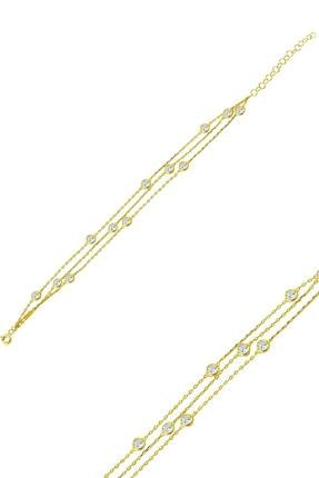 Rams Gümüş Kadın Üç Sıra Tohum Taşlı Tiffany 14k Altın Kaplama Bileklik