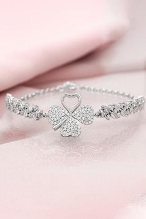 Else Silver Kalp Yapraklı Yonca Baget Kollu Gümüş Bileklik
