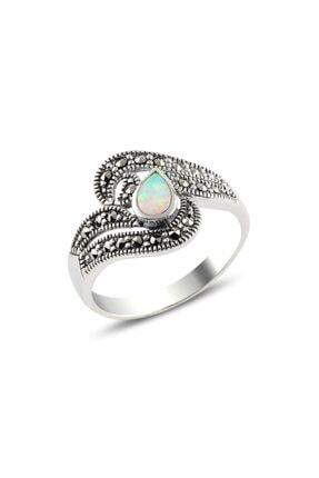 ZUK COLLECTİON Gümüş Opal & Markazit Taşlı Yüzük
