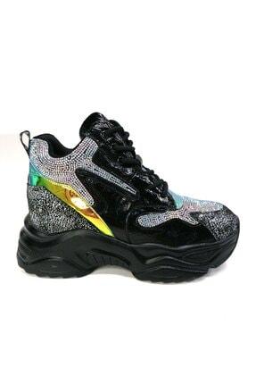 Guja Kadın Taşlı Kalın Taban Siyah Sneaker