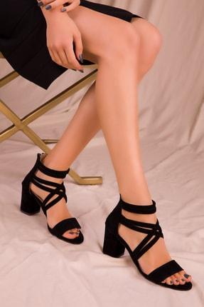 SOHO Siyah Süet Kadın Klasik Topuklu Ayakkabı 14670