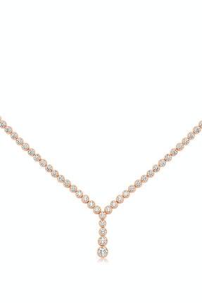 Valori Jewels Top Montür, 5.2 Karat Swarovski Zirkon Taşlı, Süzme Rose Gümüş Su Yolu Gerdanlık