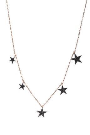 BY BARUN Kadın 925 Ayar Gümüş  5'li Siyah Yıldız Kolye