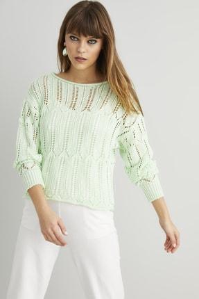 Cool & Sexy Kadın Mint Ajurlu Triko Bluz EE106