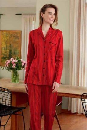 Eros 22540 Boydan Düğmeli Gömlek Yaka Uzun Kol Bayan Pijama Takım