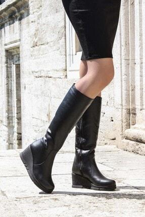 Fast Step Hakiki Deri Kürklü Siyah Kadın Dolgu Topuk Çizme 064kza1006