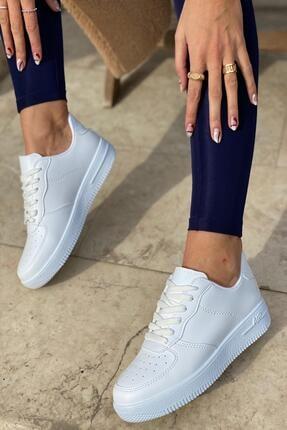 İnan Ayakkabı Unisex Beyaz Cilt Beyaz Sneaker
