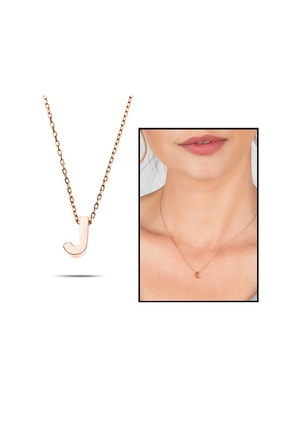 """Tesbihane Kadın 3d Tasarım Rose Renk 925 Ayar Gümüş """" J """" Harf Kolye"""