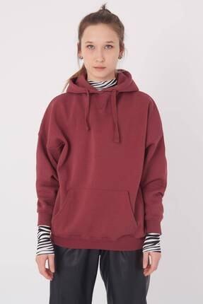 Addax Kadın Vişne Kapüşonlu Sweatshirt S0519 - P10V1 Adx-0000014040