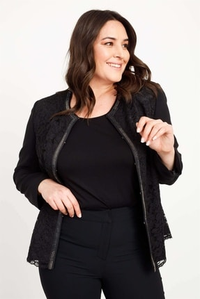 Moda İlgi Kadın Dantel Taşlı Ceket