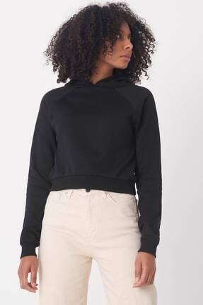 Addax Kadın Siyah Kapüşonlu Kısa Sweat S0712 - K6 ADX-0000020157