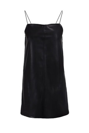 Keikei Kadın Siyah Deri Kolsuz Kısa Elbise