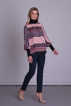 Gizia Kadın Mor Manşet Ve Yaka Triko Detaylı Çiçek Desenli Bluz