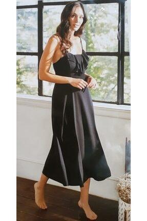 Eros Kadın Siyah Ip Askı Penye Uzun Gecelik