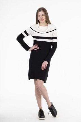 Stamina Kadın Siyah Çizgili Elbise