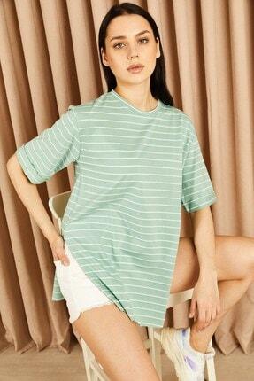 Hadise Çizgili Boyfriend Tshirt Mint Yeşil