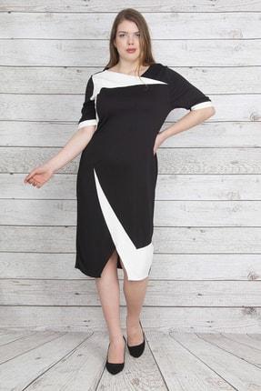 Şans Kadın Siyah Etek Kısmı Anvelop Görünümlü Ön Yırtmaçlı İki Renkli Elbise 65N23189