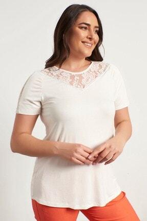 MYLİNE Kadın Beyaz Dantel Ve Pul Detaylı Bluz