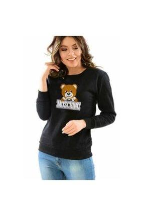 Moschino Siyah Ayıcık Kabartma Baskı Kadın Sweatshirt