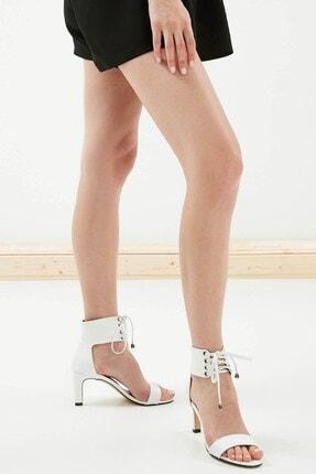 Mio Gusto Kadın  Harper Beyaz Bağcıklı Topuklu Ayakkabı