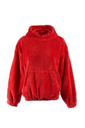 Keikei Kadın Kırmızı Teddy Bear Uzun Kol Sweatshirt