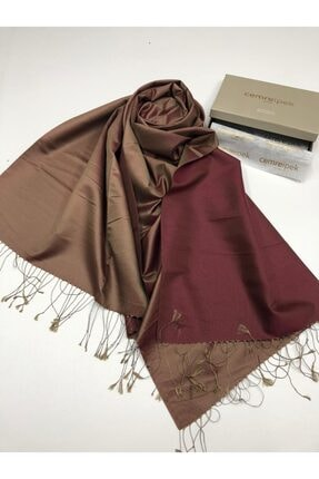 Silk Home %100 Ipek Şal Bordo-gold