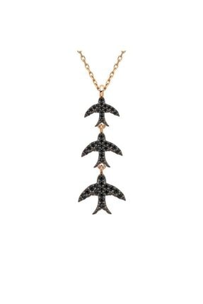 Herisson Kadın 925 Ayar Gümüş Oniks Siyah Taşlı Ebabil Kuşu Takım Kolye