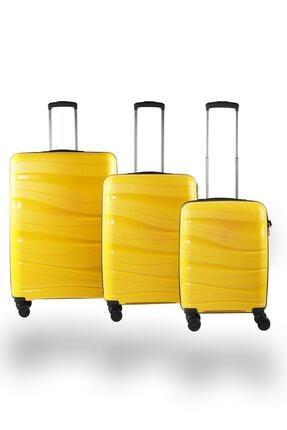 NK Unisex Sarı Pp Kırılmaz Valiz Seti