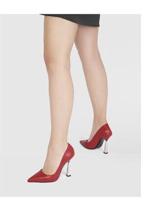 İlvi Ramka Hakiki Deri Kadın Kırmızı Stiletto