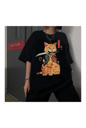 Köstebek Unisex Siyah Katana Samurai Cat T-shirt