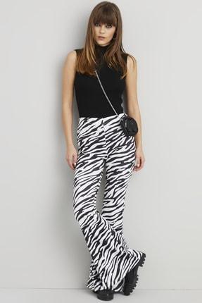 Cool & Sexy Kadın Ekru-Siyah İspanyol Paça Pantolon BK1090