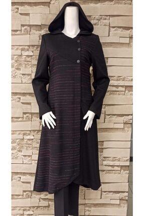 Nihan Kadın Siyah Yandan Düğmeli Çizgili Pardesü 1156