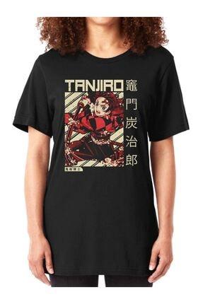 Köstebek Unisex Siyah Tanjiro Anime T-shirt