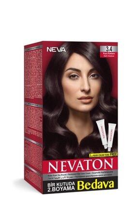 Neva Ton Kalıcı Krem Saç Boyası 3.4 Koyu Kahve