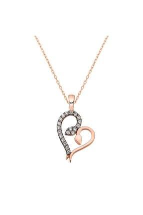 Herisson Kadın 925 Ayar Gümüş Zirkon Beyaz Taşlı Kalp Kolye