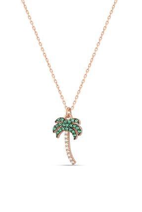 Herisson Kadın 925 Ayar Gümüş Zirkon Beyaz Yeşil Taşlı Palmiye Kolye