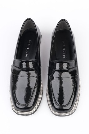Marjin Kadın Siyah Rugan Loafer Ayakkabı Bunlez