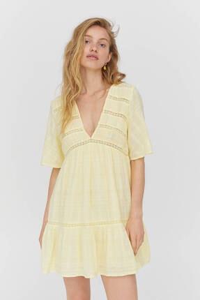 Pull & Bear Kadın Sarı Dantel Şeritli Mini Elbise