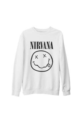 Lord Unisex Beyaz Nirvana Logo Kalın Sweatshirt
