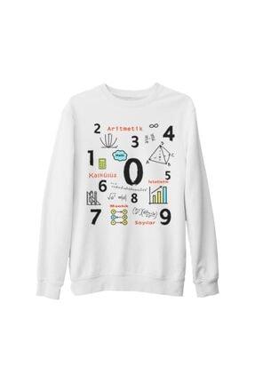 Lord Unisex Beyaz Matematik Aritmetik Kalın Sweatshirt