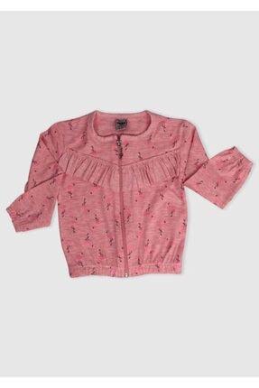 Simisso Kız Çocuk Somon Rengi Flamingo Baskılı Hırka