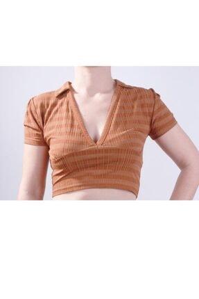 Bsl Polo Yaka Crop Bluz