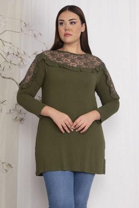 Şans Kadın Haki Roba Ve Omuzları Dantel Detaylı Viskon Bluz 65N22522