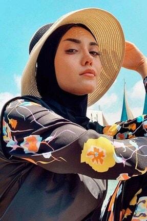 Haşema Kadın Çiçek Desenli Siyah Tesettür Mayo