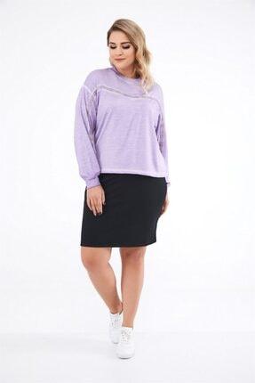 Seamoda Kadın Ön Kısmı Rivet Detaylı Yağ Yıkama Crop Sweatshirt