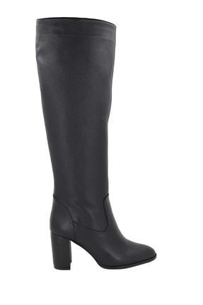 Hobby Kadın Siyah Deri Topuklu Çizme