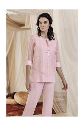 Artış Pudra Pamuklu Viskon Pijama Takım-8212-4