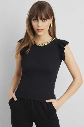 Cool & Sexy Kadın Siyah Yaka Zincirli Fırfırlı Kaşkorse Bluz KZ866