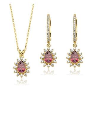 Valori Jewels Zirkon Kırmızı Damla Taşlı Altın Rengi Gümüş İkili Set